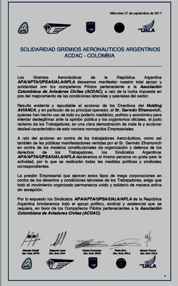 Solidaridad Gremios Aeronauticos Argentinos con ACDAC - Colombia