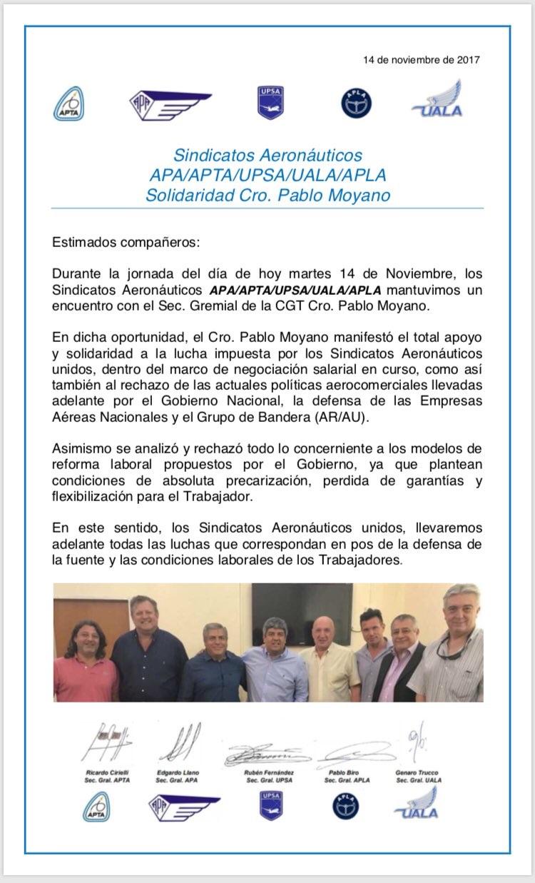Comunicado Sindicatos Aeronáuticos de Argentina (APA/APTA/UPSA/UALA/APLA)