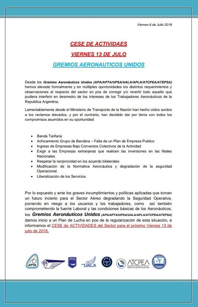 Comunicado de los Gremios Aeronáuticos Unidos (APA|APTA|UPSA|UALA|APLA|ATCPEA|ATEPSA)
