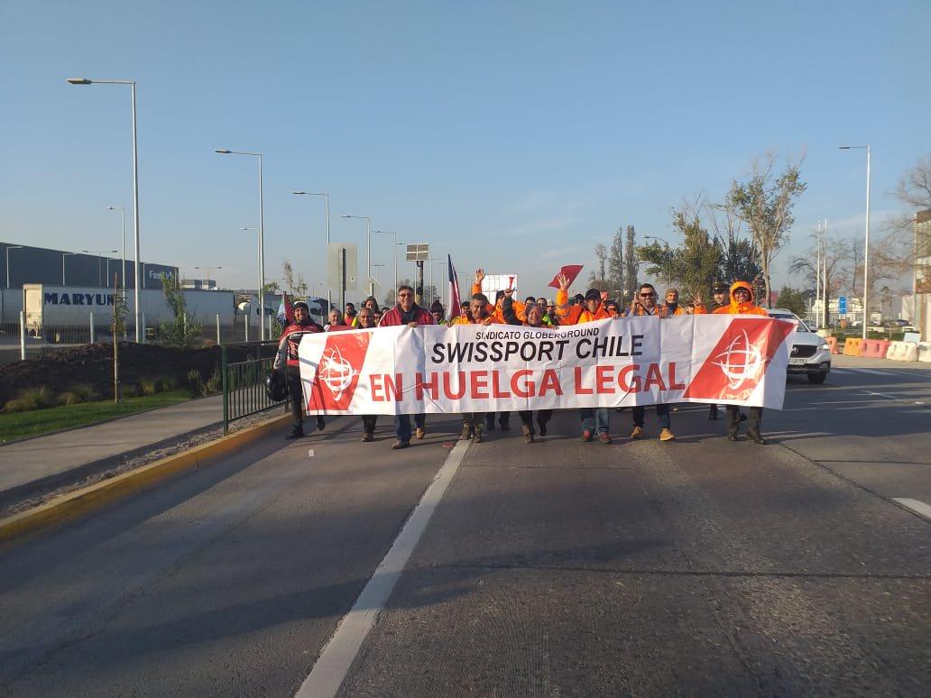 La ETF apoya a los/as trabajadores/as de Swissport en huelga en Chile